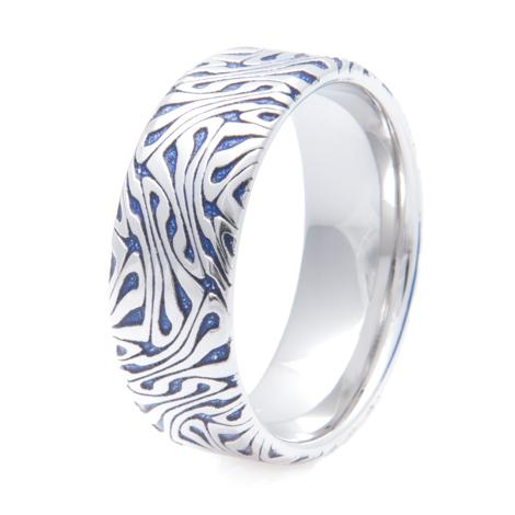 Men's Blue Escher Pattern Cobalt Ring