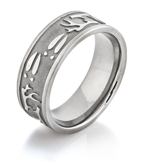 Men's Titanium Deer Antler & Sheds Ring