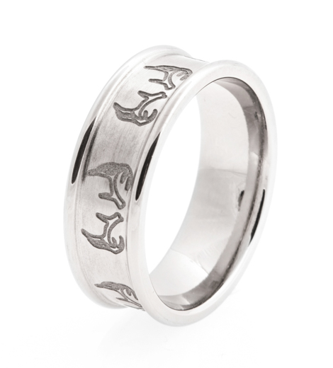Men's Laser-Carved Titanium Antler Ring