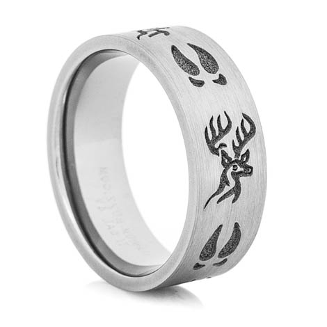 Men's Titanium Deer Head and Tracks Ring
