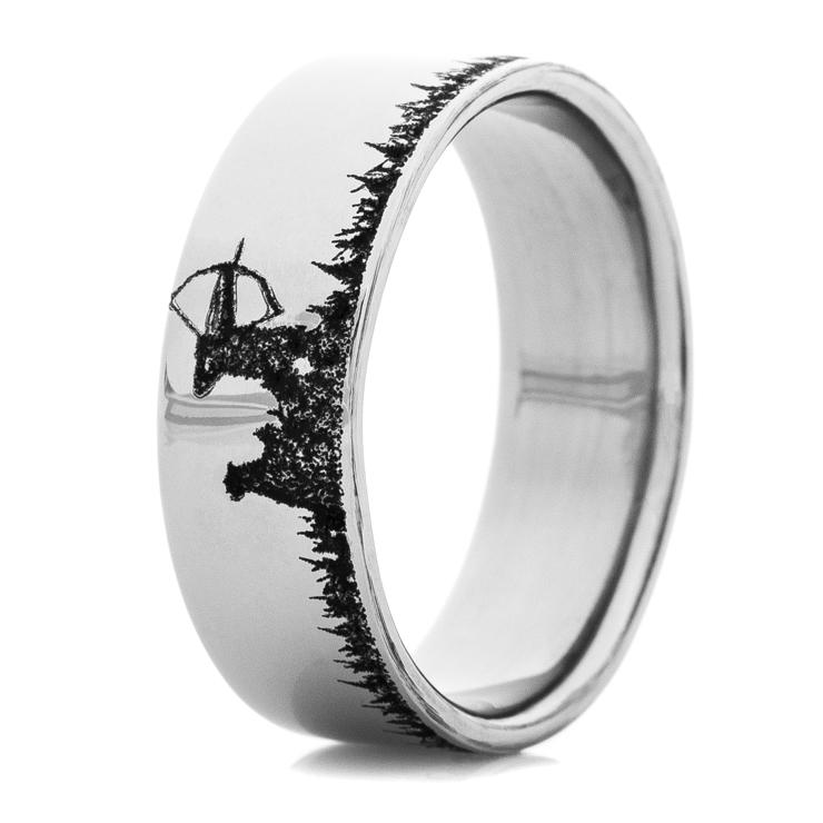 Men's Laser-Carved Titanium Deer Bow Hunter Ring
