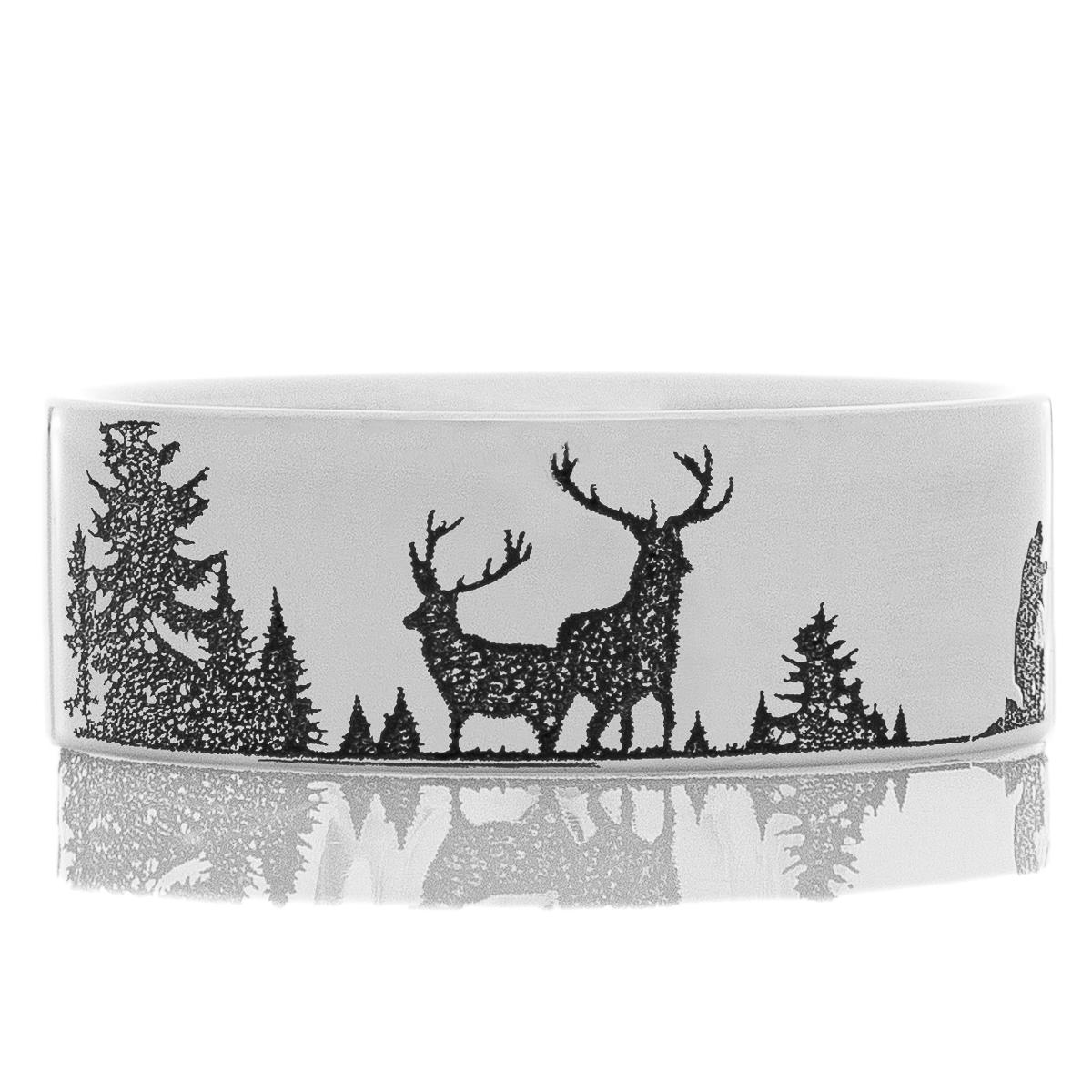 Men's Laser-Carved Titanium Ultimate Deer Hunting Ring