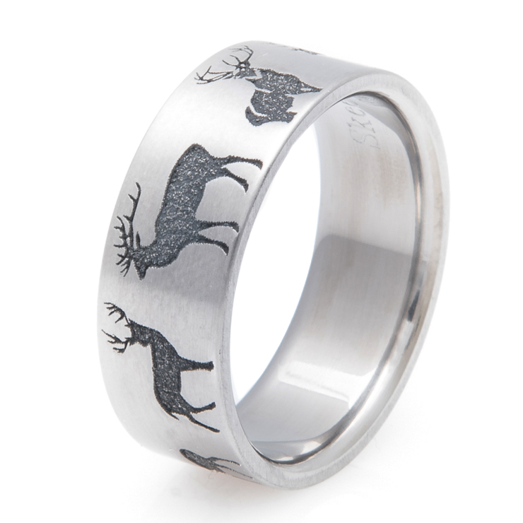 Men's Laser Carved Deer Silhouette Ring