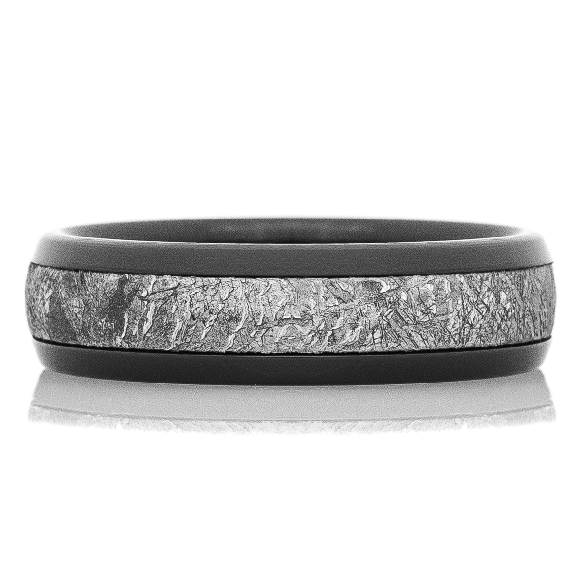 Men's Black Zirconium Meteorite Wedding Band