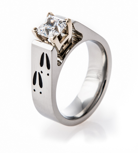 Women's Cobalt Chrome Deer Track Engagement Ring