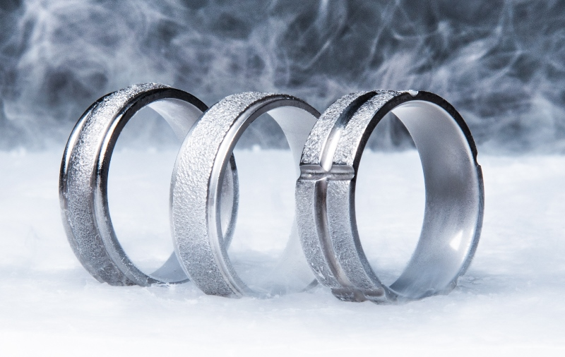 Concave Arctic Titanium Ring with Polished Edges
