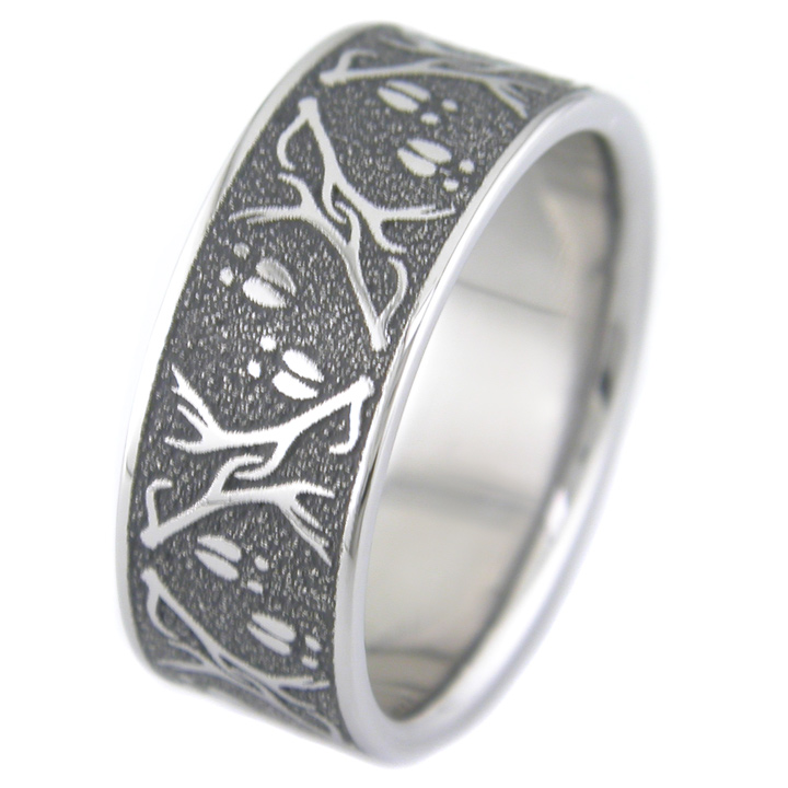 Men's Laser Carved Deer Wedding Band