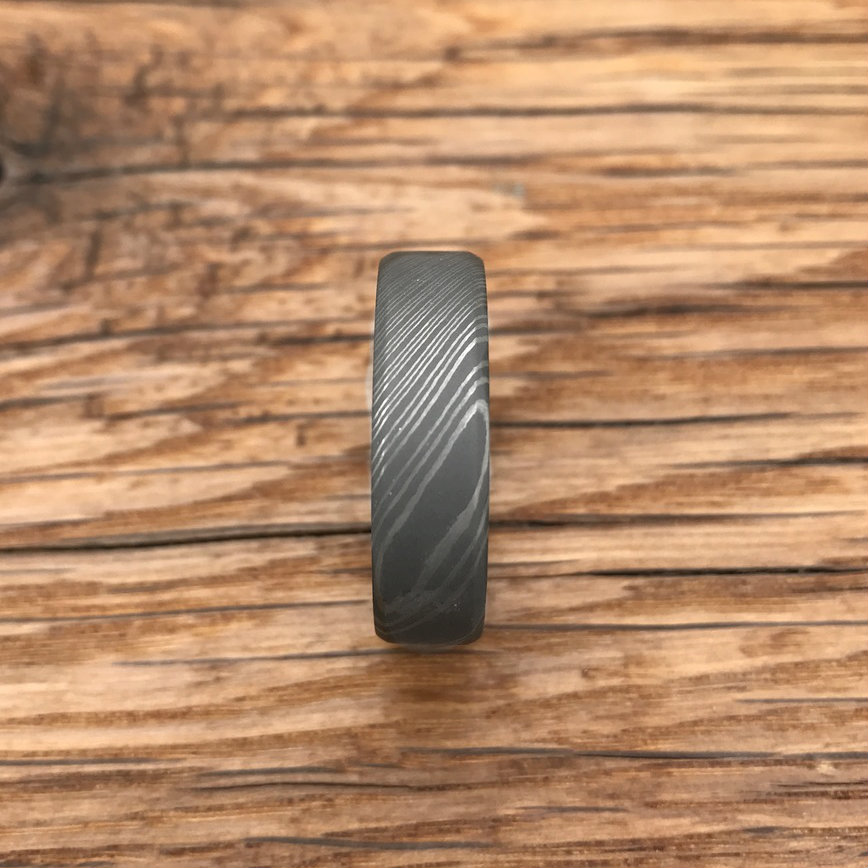 Men's Acid Finish Beveled Edge Damascus Steel Ring