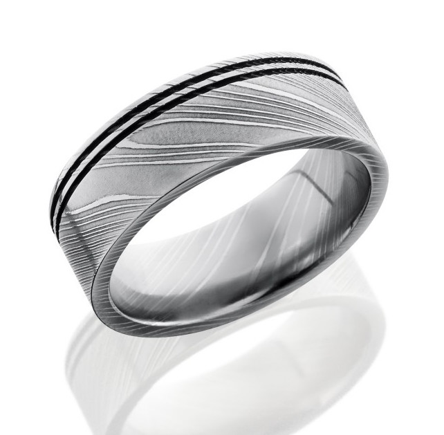 Men's Damascus Steel Ring with Offset Grooves