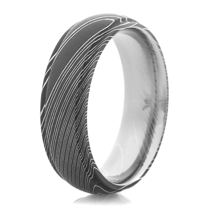 Men's Grooved Edge Acid Finish Damascus Steel Ring