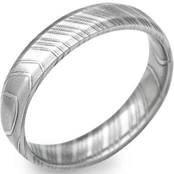 Men's Narrow Beveled Damascus Steel Ring
