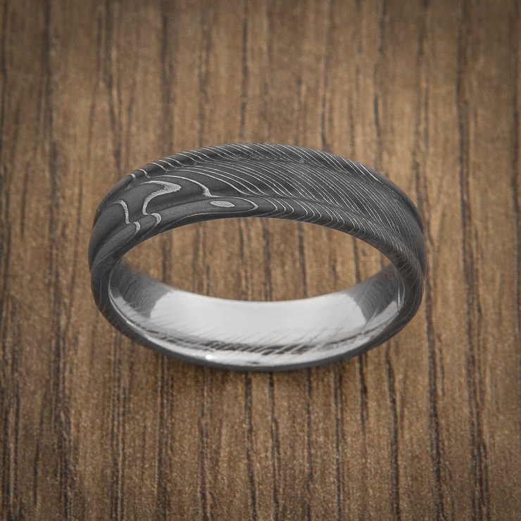 Men's Round Edge Acid Finish Damascus Steel Ring