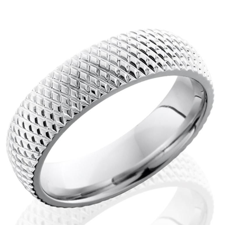 Men's Cross-Carved Cobalt Ring