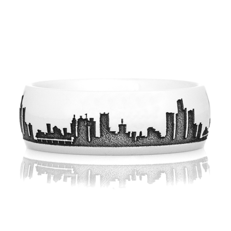Men's Cobalt Chrome Detroit Skyline Ring