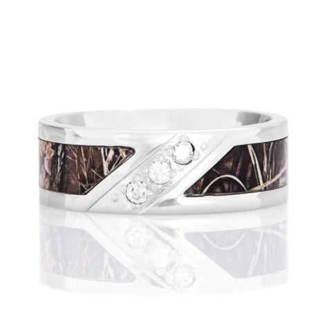 Men's Cobalt Chrome Three-Stone Diamond Camo Ring