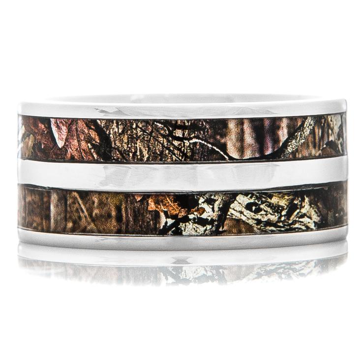 Men's Titanium Double Barrel Camo Ring