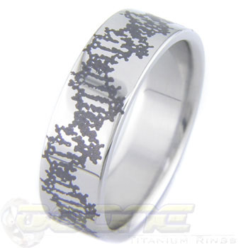 Titanium Laser Engraved DNA Ring