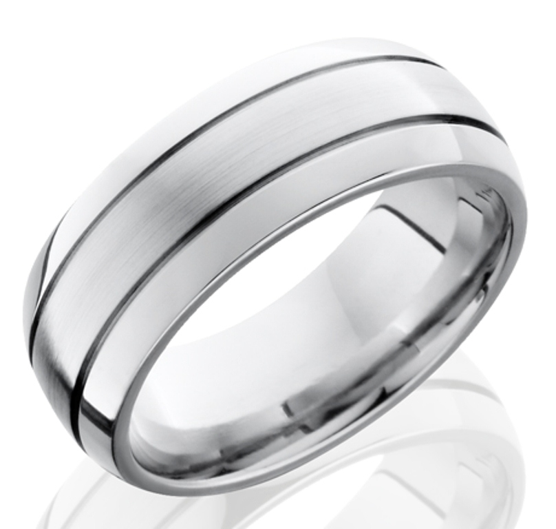 Men's Cobalt Chrome Ring with Dual Grooves