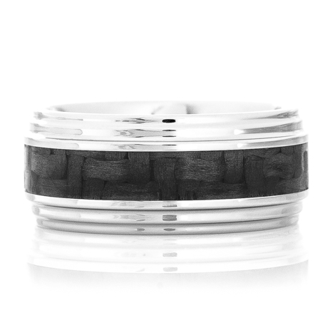 Double Groove Ring with Carbon Fiber