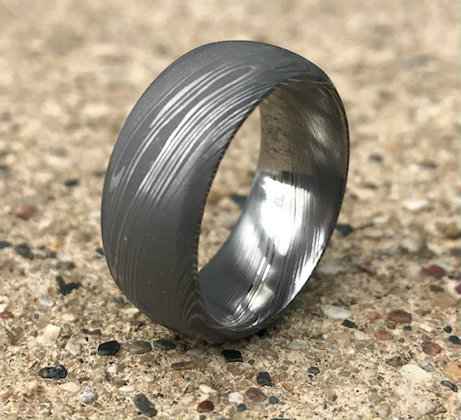 Men's Beveled Edge Dome Profile Damascus Steel Ring