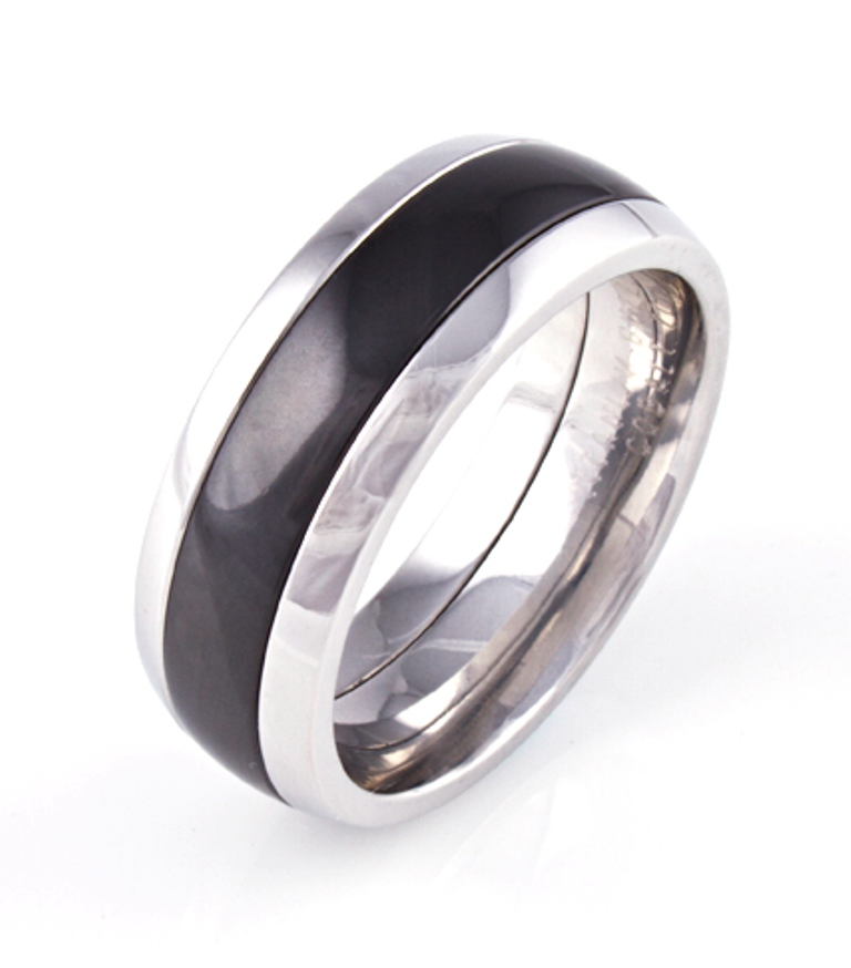 Men's Cobalt Chrome Bronx Ring with Black Zirconium Inlay
