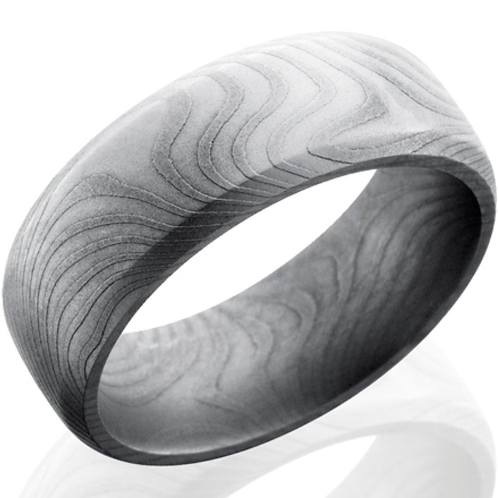 Men's Beveled Edge Twist Pattern Damascus Steel Ring