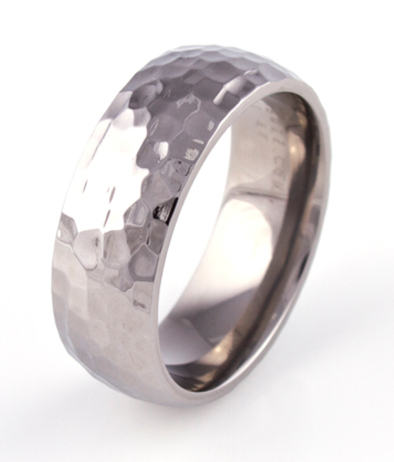 Men's Titanium Dome Profile Hammered Ring