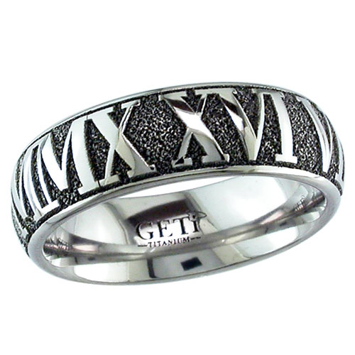 Dome Profile Roman Numeral Wedding Band