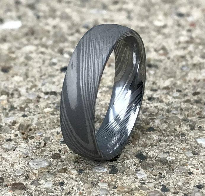 Men's Dome Profile Acid Finish Damascus Steel Ring