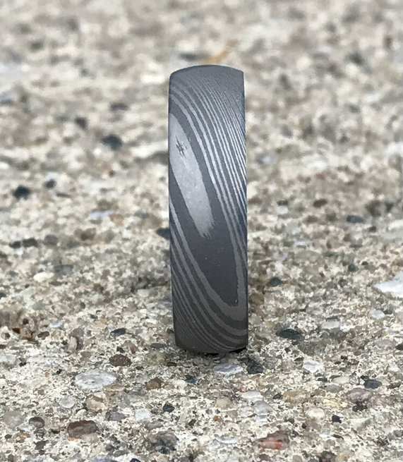 Men's Dome Profile Acid Finish Damascus Steel Ring