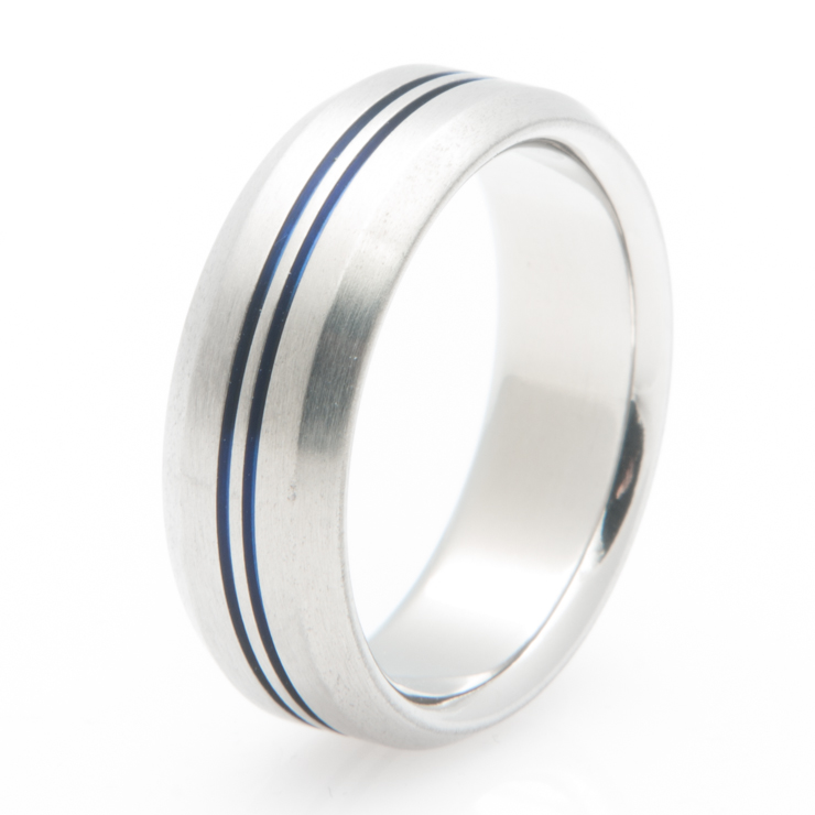 Dual Groove Blue Wedding Band