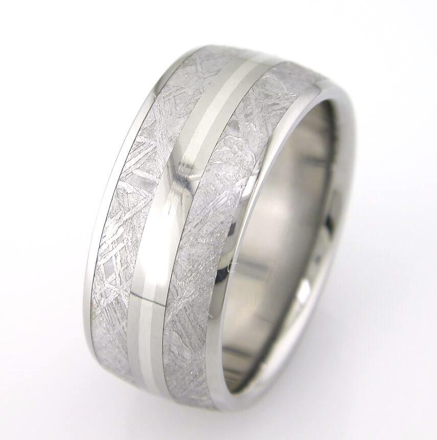 Men's Titanium Dual Inlay Meteorite Ring with Silver Accents
