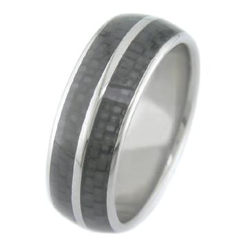 Titanium Ring with Dual Carbon Fiber Inlays
