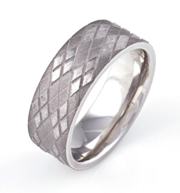 Titanium Argyle Patterned Ring