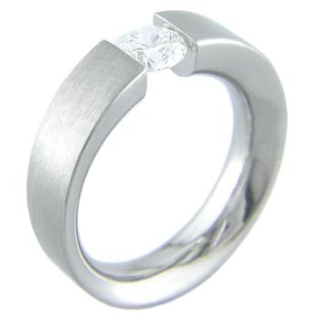 Women's Titanium Ellipsoid Tension Set Ring