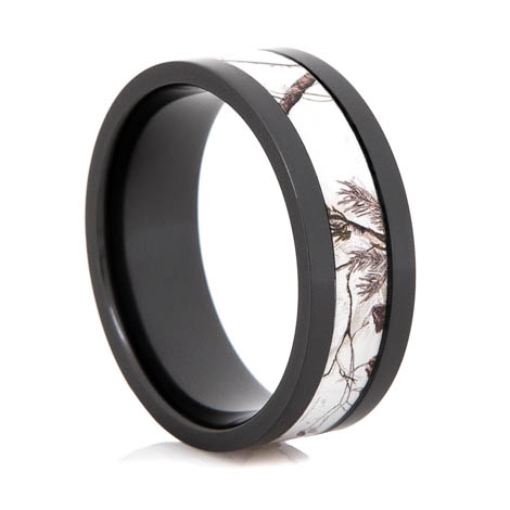 Men's Black Zirconium Realtree® Snow Camo Ring