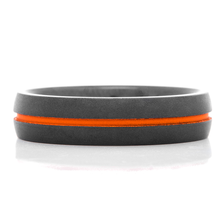 Men's Flat Black Wedding Band with Orange Inlay