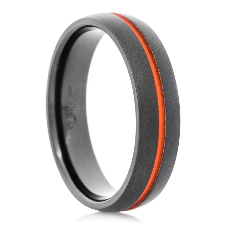 Men's Flat Black Wedding Band with Orange Inlay