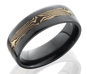 Men's Black Band with 14K Rose Gold and Shakudo Mokume Gane Inlay