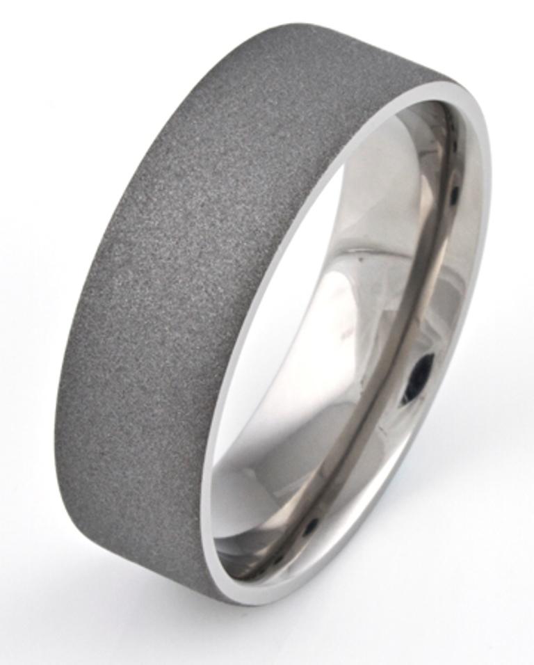 Men's Flat Profile Titanium Sandblasted Ring