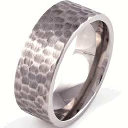 Men's Titanium Flat Profile Hammered Ring