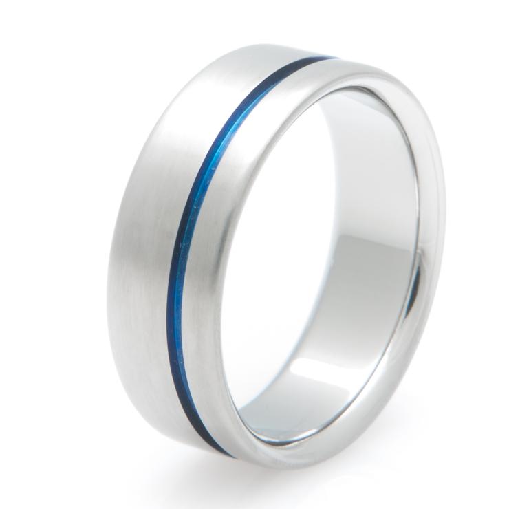 Men's Titanium Thin Blue Line Ring