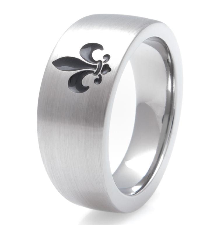 Men's Titanium Fleur-de-Lis Ring
