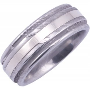Men's Round Edge Damascus Steel Ring with White Gold Inlay