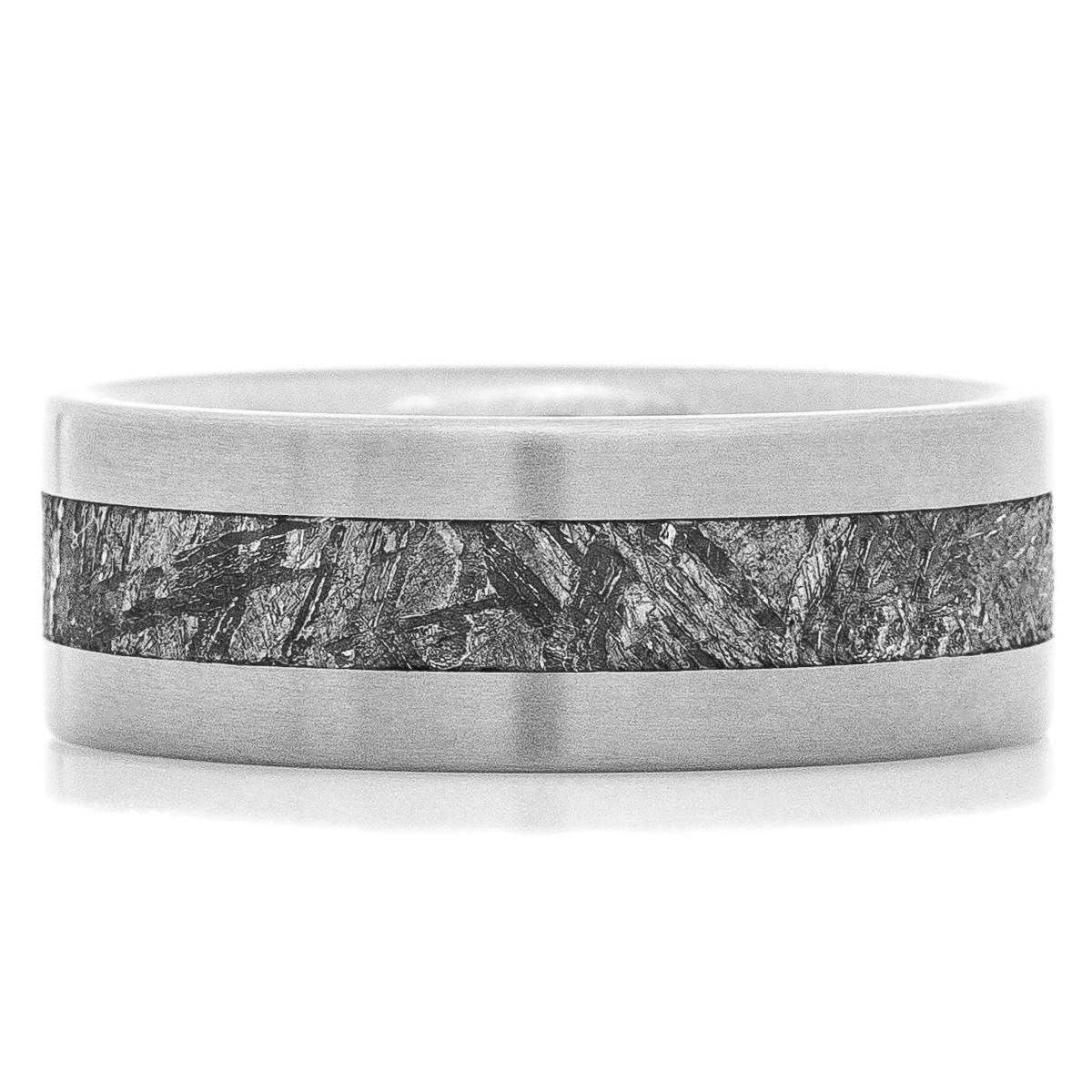 Men's Flat Profile Satin Finished Titanium Gibeon Meteorite Ring