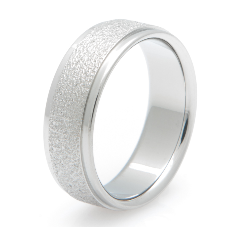 Flat Profile Titanium Ring with Frost Inlay