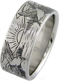 Men's Titanium Flying Duck Scene Ring