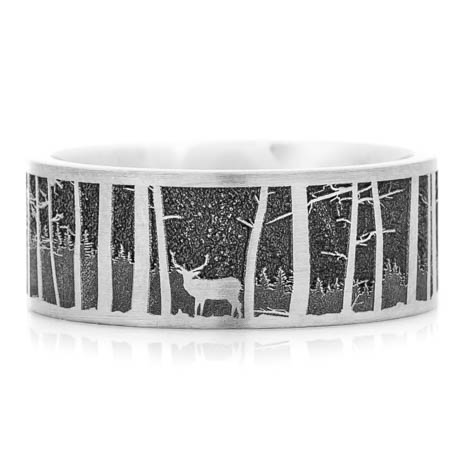 Men's Laser-Carved Titanium Deer Scene Ring