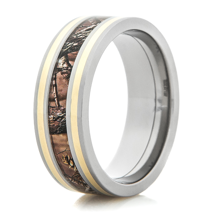Men's Titanium Camo Wedding Ring with Dual 14K Gold Inlays