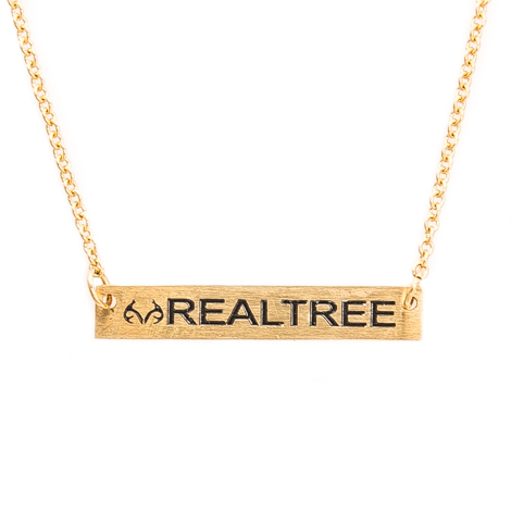 Realtree-Simple Gold Bar Necklace